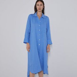 NWT Zara Linen Midi Shirt Dress Blue XL